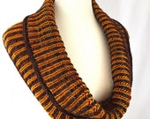 Brioche Cowl // Mahogany // Gold // OOAK // wool // handknit // thick cowl // double-sided cowl // warm cowl // neckwarmer