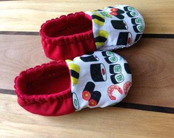 sushi baby shoes, sushi booties,baby sushi clothing, sashimi baby shoes, sushi slippers, soft sole shoes, sushi shoes