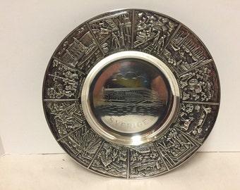 """Vintage Nils Johan Sverige Sweden Prima Nickel Silver Charger Plate 10.75"""""""