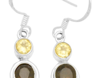 Natural Smokey Quartz Citrine Earrings Solid 925 Sterling Silver Jewelry IE21041