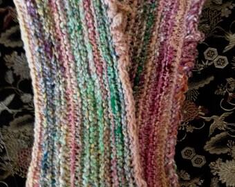 Handknit wristwarmers - multicolor - cotton/wool/silk
