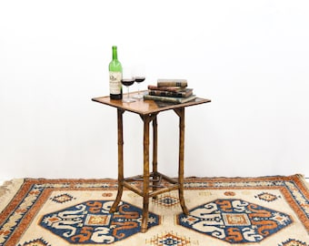 Chinese Bamboo Marquetry Lacquer Table