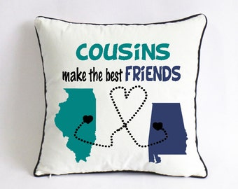 cousins make the best friends pillow case-long distance cousins gift-Christmas gift for cousins-little cousin birthday gift from big cousin