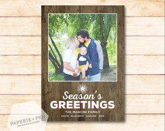Season's Greetings Woodgrain // Holiday Photo Card