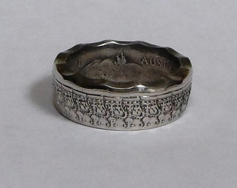 Sealed Coin Ring made from Australian half dollar  size 9-15