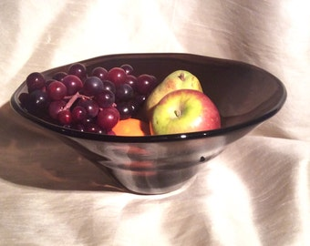 Large Hand Blown Glass Bowl.  Aubergine Glass Fruit Bowl.  Glass Art Bowl.