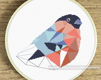 Modern cross stitch pattern, Bullfinch cross stitch pattern, Bird cross stitch pattern, Geometric cross stitch pattern, Xstitch, Nature