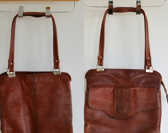 Vintage leather Satchel Purse Aged Perfectly Oxblood Reddish Brown Weathered 1960's