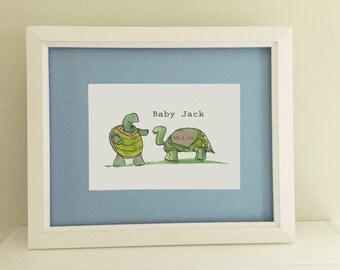 Personalized Turtle Illustration Newborn Baby Whimsical Art Print