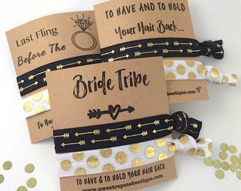 Bachelorette Party Favors// Bridesmaid Gift// Bride Tribe- To Have And To Hold Your Hair Back// Bachelorette Survival kit- Hair Tie Favor