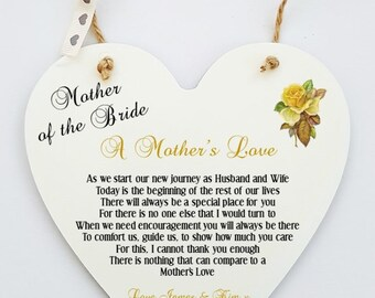 Personalised Wedding Poem Plaque.  A Mother's Love. Mother of the Bride/Groom
