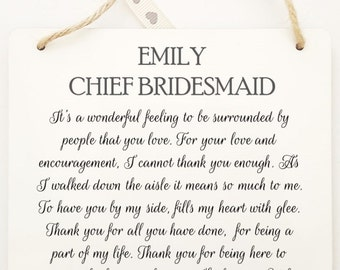 Personalised Chief Bridesmaid Hanging Plaque