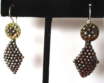 Pair  of 1 3/4-Inch Victorian Cut-Steel Earrings With Brass Accents