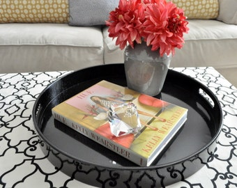 """30"""", 32"""" or 36"""" Round Large Ottoman Tray - Black"""