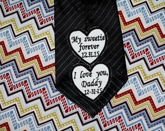wedding tie patch, wedding personalized heart patch for father of the bride, father of the groom and groom iron on tie patch