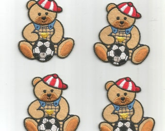 4 pc Blue White Soccer Sports Playing Bears Uniforms Iron On Patch Applique 060616