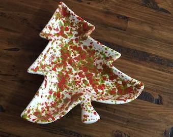 Vintage Splatter Paint Christmas Tree Ceramic Plate