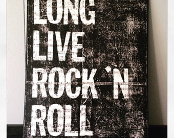 """Canvas Art Quote """"16 X 20"""" Long Live Rock & Roll"""