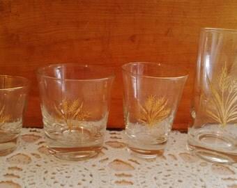 Vintage Gold Wheat Glassware (Set of 16+) Drink Set - Bar Set
