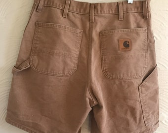 vintage carhartt brown utility shorts made in detroit retro workwear 34W