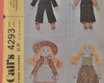 "Vintage doll pattern McCall's 4293 Boy and girl doll with clothes pattern 20"" tall Uncut"