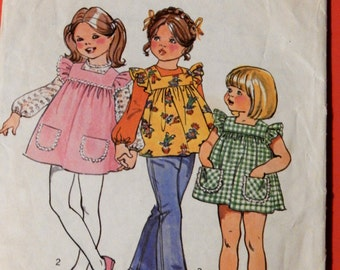 Simplicity 5479 Little girls smock dress or top and blouse pattern Size 4
