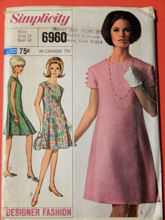 Vintage Dress Pattern Simplicity 6960 Designer Fashion