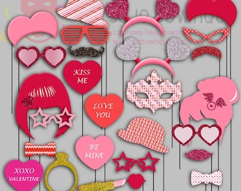 Valentine's Day Party Photo Booth Props, Heart, Kiss, Mask, Love Party Photo Props