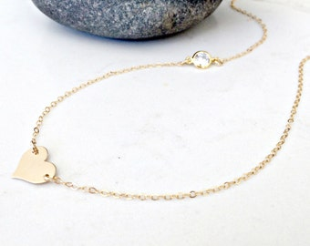 14k gold filled heart necklace cubic zirconia necklace personalized heart necklace heart jewelry hand stamped heart initial necklace cz