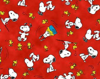 Happiness is Snoopy Woodstock Toss Red Fabric