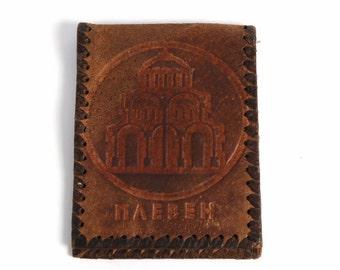 Tooled Leather Vintage Men's Wallet, Brown Leather Money Purse, Slim Fold Wallet, Change Purse, Vintage Leather Portfolio, Folding Billfold