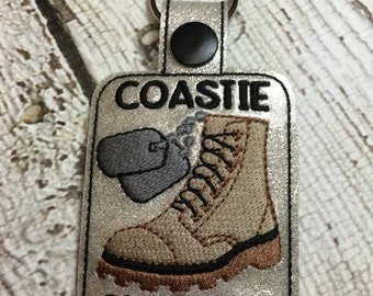 Coastie Girlfriend - Coast Guard - Military - Combat Boots, Dog Tags - Key Fob Design - DIGITAL Embroidery DESIGN