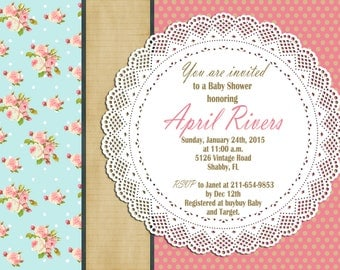 Print Your Own - Shabby Chic Baby Shower Invitation
