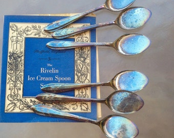 Ice Cream Spoons, Silver Plated Spoons, Silver Rivelin Ice Cream Spoons, Sheffield England Spoon Set in Box, Silver Plated Spoons