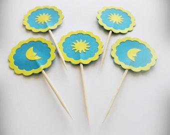 Blue Cake Topper, Cupcake Picks, Party Decor, 24 Cupcake Toppers, Cupcake Topper, Summer Party, Sunny Party