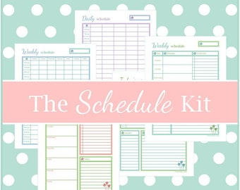 The SCHEDULE Kit, printable schedule, planner pages, weekly planner, to do list, instant download, Spring Home Printables, PDF, Full Size