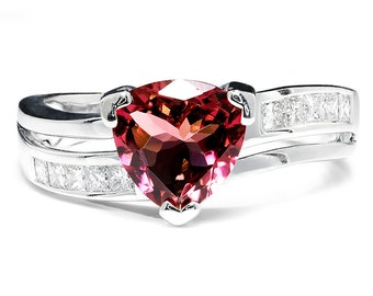 Nissko Trillion Cut Pink Tourmaline & Diamond 18kt White Gold Wavy Ring 2.00ctw