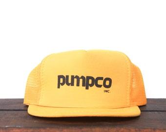 Vintage Pumpco Pumps Yellow Minimal Trucker Hat Snapback Baseball Cap