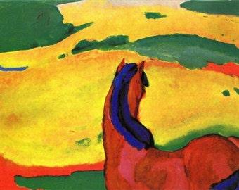 "11 x 14"" canvas art print~ Franz Marc-horse_in_a_landscape.  Fantasy, Impressionist, animals, equine"