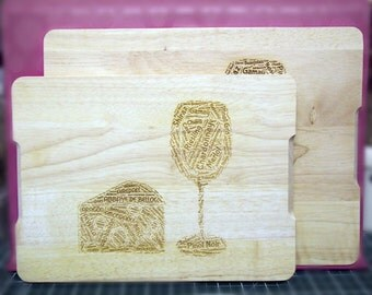 Wine and Cheese - Solid Birch Chopping Board