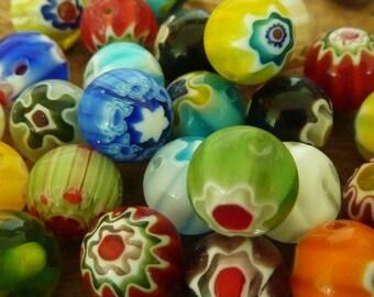 40 pce Viberant Multi-Coloured Round Millefiori Glass Beads 10mm