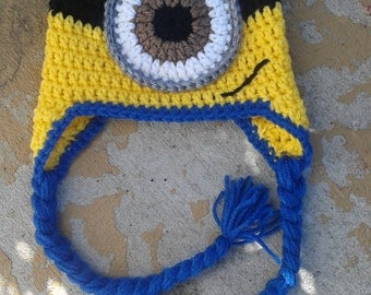 Minion hat, crochet minion inspired hat, one eyed minion, baby minion hat, one eye minion ear flap braid hat