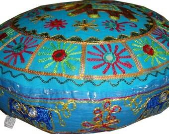 Jaipur art embroider mirror work elephant round floor ottoman pouf pillow Cushion cover ethnic decoration