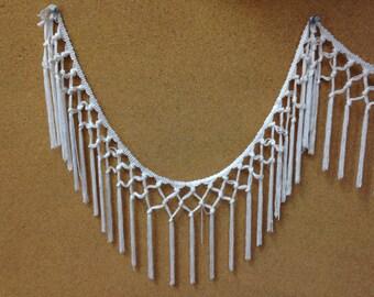 """Natural white Rayon fringe, Long Fringe, Costume fringe, fashion fringe, Chainette Fringe, 6"""" Fringe,"""