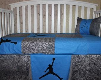 Crib Bedding Set, Custom 5 piece JORDAN-Elephant Skin Theme, Bumperless