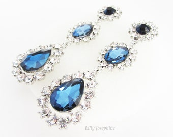 Long Sapphire and Navy Blue Crystal and Rhinestone Earrings, Blue Bridal Earrings, Sapphire Wedding Jewellery, Long Blue Earrings