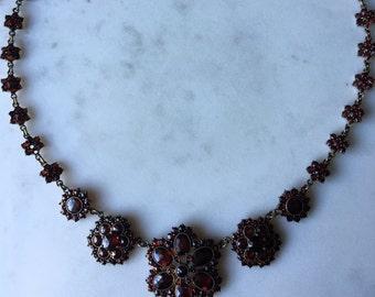 "Bohemian garnet necklace, garnet gold, 17"", floral starburst pattern, rose cuts"