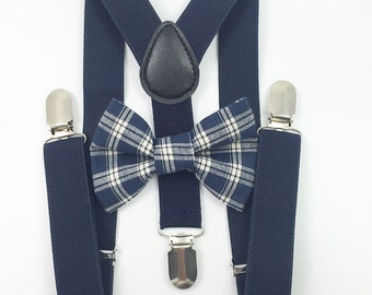 FREE DOMESTIC SHIPPING! Navy blue Suspenders + Navy Blue Plaid Bow tie Toddler family photoshoot photoprop pictures formal