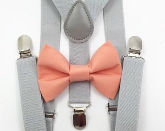 FREE DOMESTIC SHIPPING! Light gray suspenders  + Coral Bow tie toddler kids boy boys Adult holidays photos family photoshoot