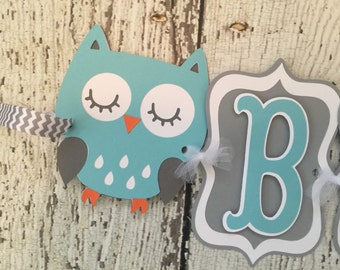 Owl Baby Banner in Mint, Grey and White, Woodland Baby Shower Banner